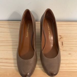 Franco Sarto Wedge Shoes Distressed Brown Leather